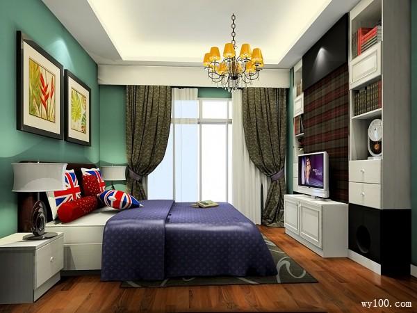 清新自然卧室效果图 13�O根据户型的凹位定制柜体_维意定制家具商城