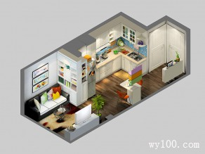 L型厨房橱柜设计图 20�O柜体包柱平齐冰箱_维意定制家具商城