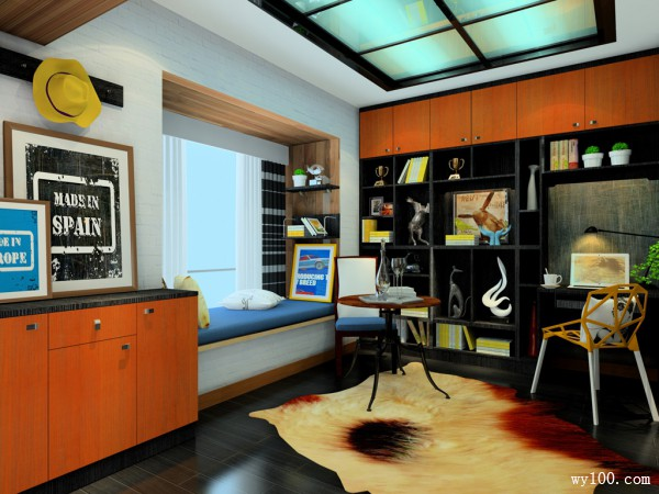 开放式书房装修效果图 17�O墙漆时尚搭配_维意定制家具商城