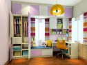 粉紫色儿童房效果图 9�O温馨舒适_维意定制家具商城