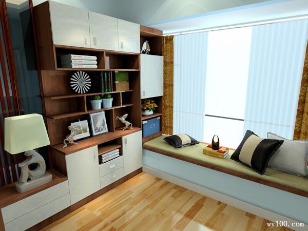 复古书柜卧室装修效果图