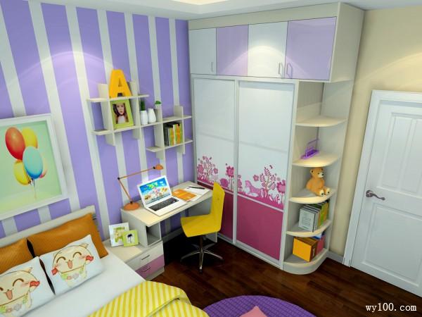 女儿童房装修效果图 10�O粉紫色梦幻主题_维意定制家具商城