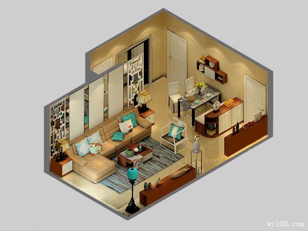 玄关客餐厅效果图 35�O营造现代时尚的氛围_维意定制家具商城