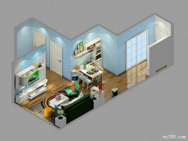 蓝色简约客餐厅效果图 21�O温斯莱特设计风格_维意定制家具商城
