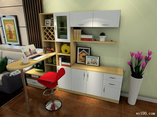 现代客餐厅效果图 32�O吧台设计成休闲_维意定制家具商城