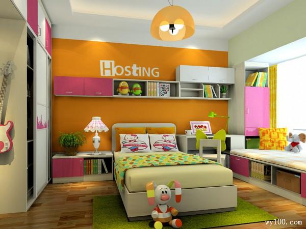 温馨儿童房 10�O抢占窗户空间打造学习区_维意定制家具商城