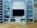 地中海风格客餐厅 蓝色基调体现风格气息_维意定制家具商城