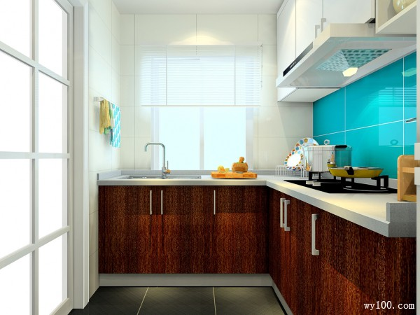 L型的橱柜厨房 蓝色调设计让更清爽亮丽_维意定制家具商城