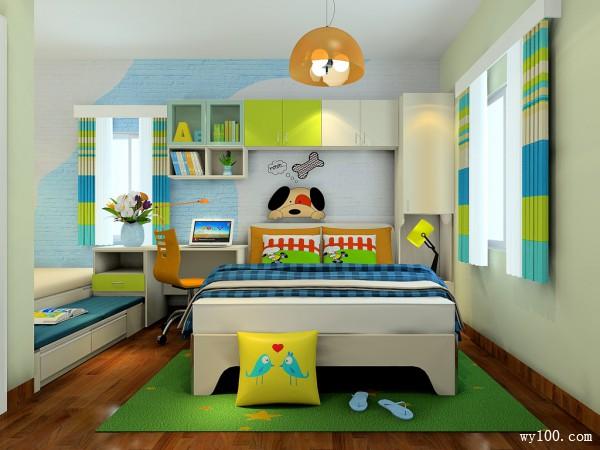 榻榻米床儿童房效果图 21平储物性强大色彩清新_维意定制家具商城
