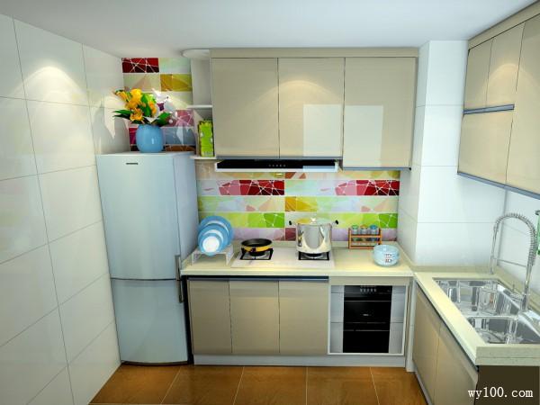 L型柜体厨房效果图 4平强化了色彩的空灵度_维意定制家具商城