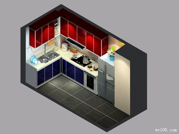 L型橱柜厨房效果图 7平使生活充满格调_维意定制家具商城