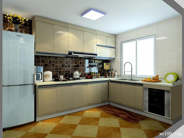 L型厨房设计效果图 8平用掩门吊柜把烟机包起来_维意定制家具商城