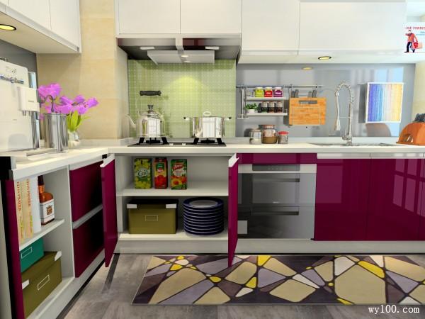 L型厨房效果图 5�O吊柜的设置增加储物功能_维意定制家具商城