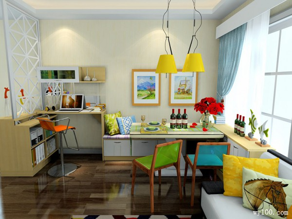 吧台设计客餐厅 迎门隔断柜搭配精致舒适_维意定制家具商城