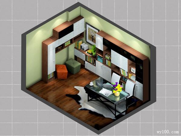 整体书柜书房效果图 11�O拼搭设计错落有致_维意定制家具商城