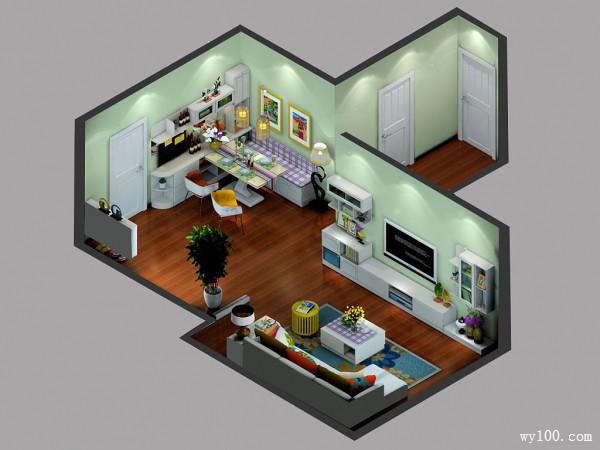现代简约客餐厅  62�O舒适自然清新_维意定制家具商城