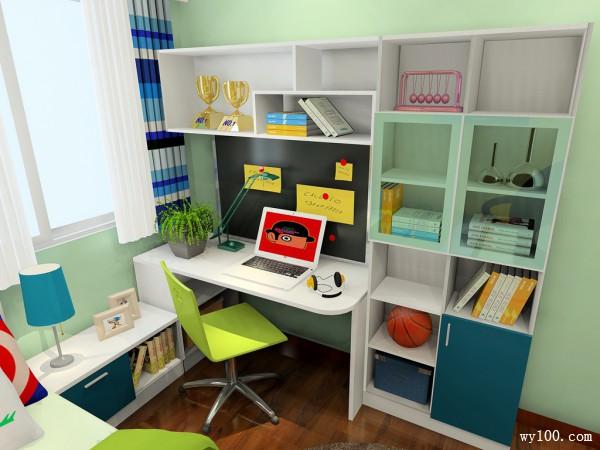 绿色儿童房效果图 9平书柜的设计满足孩子学习需求_维意定制家具商城