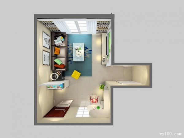 鞋柜隔断客餐厅效果图 18平空间色彩搭配清爽温馨_维意定制家具商城