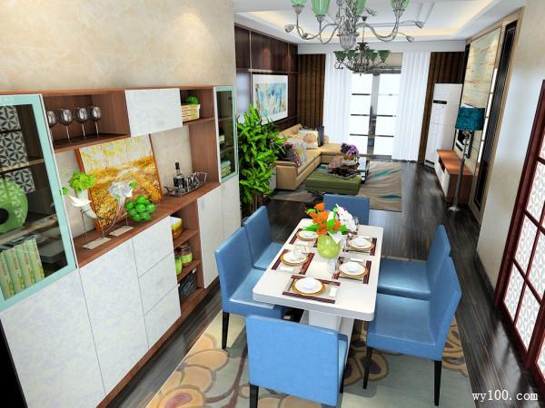餐边柜客餐厅效果图 25平木纹背景墙搭配米黄沙发_维意定制家具商城
