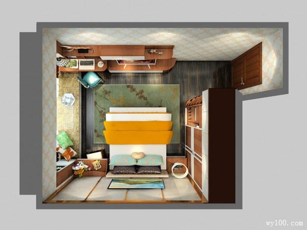 飘窗衣柜卧房效果图 19平书桌电视柜应有尽有_维意定制家具商城