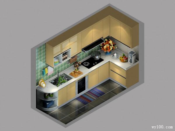 小户型L型厨房效果图 4平柜体拼搭多样储蓄性强_维意定制家具商城