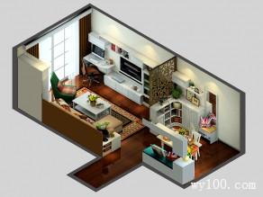 电视背景墙客餐厅效果图 26平清新英伦气息_维意定制家具商城