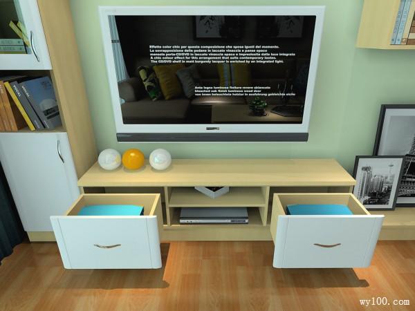 浅色客餐厅效果图 19平组合搭配芒果黄让空间感更强_维意定制家具商城