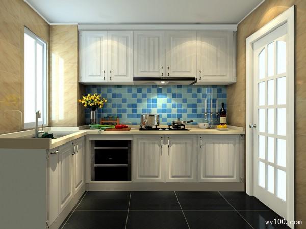 蓝色背景墙厨房效果图 4�O空间带有现代的清新_维意定制家具商城