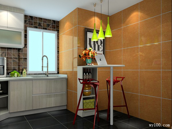 吧台厨房设计效果图 8�O别有一番自然的感觉_维意定制家具商城