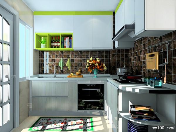 L型厨房效果图 4�O吊柜增加储物的功能_维意定制家具商城