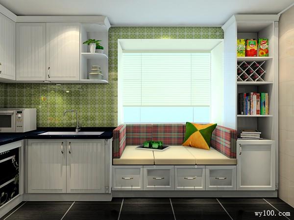 L型厨房设计效果图 10�O田园清新舒适自然_维意定制家具商城