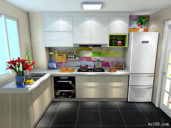 L型厨房效果图 5平彩斑斓的背景墙使空间更清新_维意定制家具商城