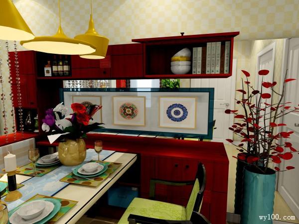 中式玄关柜客餐厅效果图 40平客餐厅大布置_维意定制家具商城