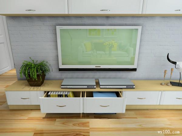 简洁大方电视柜客餐厅效果图_维意定制家具商城