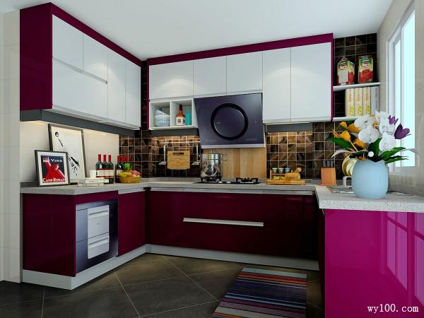 经典时尚厨房效果图 11�O空间采用苏提春晓风格_维意定制家具商城