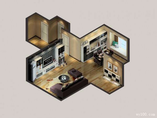 现代客餐厅效果图 102平给聚餐一个理由_维意定制家具商城