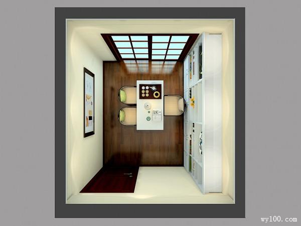 一字型书房效果图 7�O整体书柜收纳空间极强_维意定制家具商城