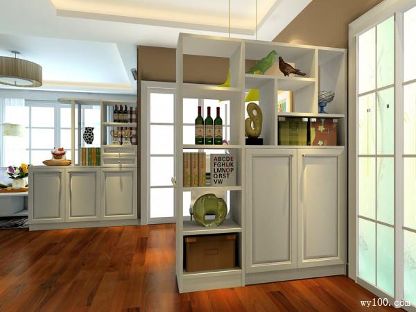 隔断客餐厅效果图 36�O酒柜隔断避免了直对沙发_维意定制家具商城