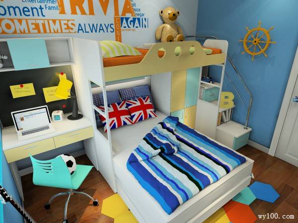 上下床儿童房设计 蓝调展现海洋气息_维意定制家具商城