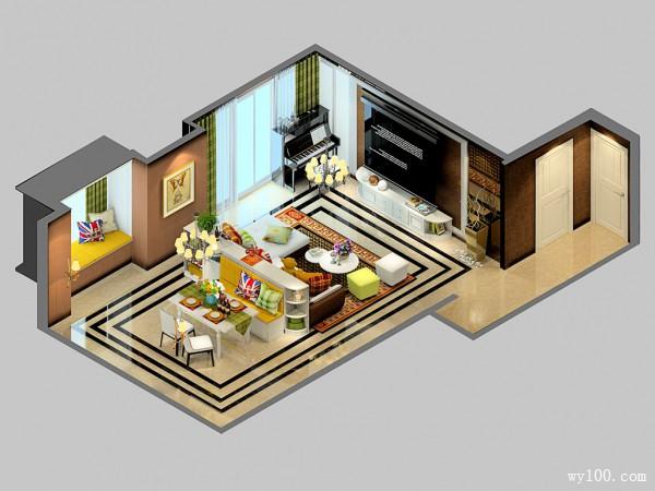 餐边柜组合客餐厅 30平田园气息浓厚_维意定制家具商城