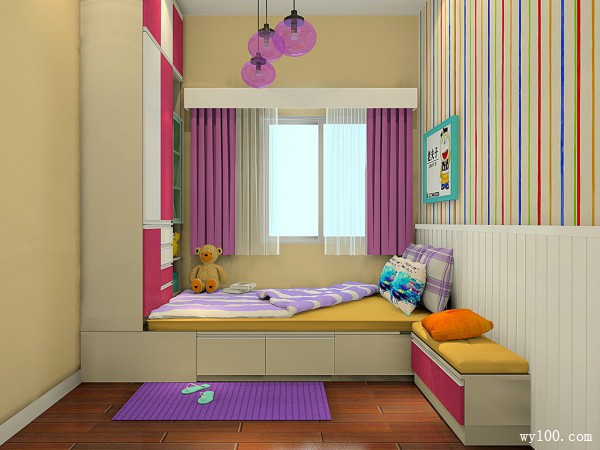 榻榻米儿童房效果图 7�O梦幻色彩儿童房_维意定制家具商城