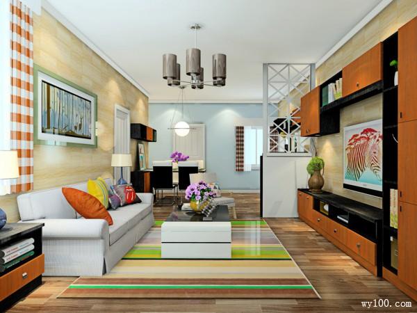 空间划分合理客餐厅效果图 26�O整体空间_维意定制家具商城