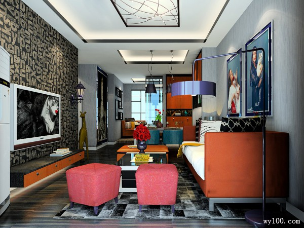 欧式客餐厅效果图 34平将酷炫进行到底_维意定制家具商城