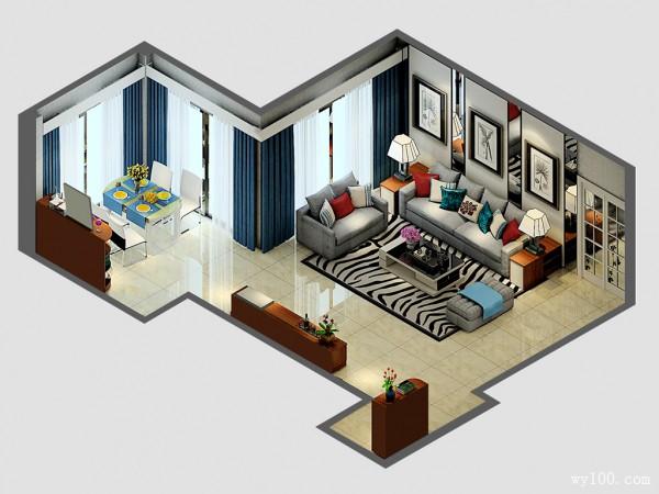 现代时尚客餐厅效果图 51�O时尚的灰色调_维意定制家具商城