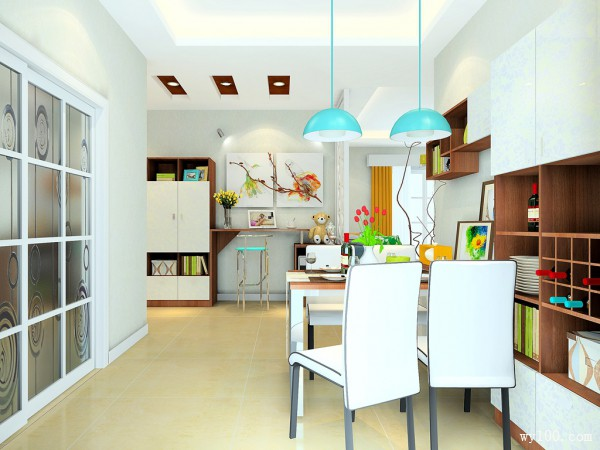 进门玄关客餐厅效果图 33�O整体实用性强,美观_维意定制家具商城