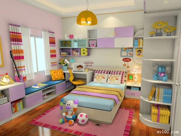 粉色系儿童房效果图 11�O增加女孩子的梦幻感觉_维意定制家具商城