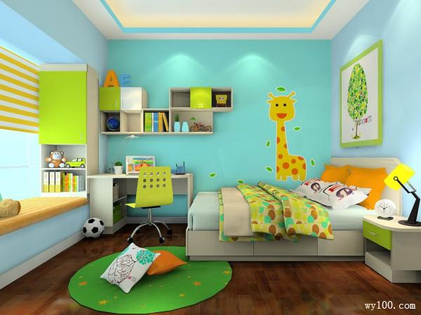 绿色飘窗儿童房效果图 10�O色彩搭配具有趣味性_维意定制家具商城