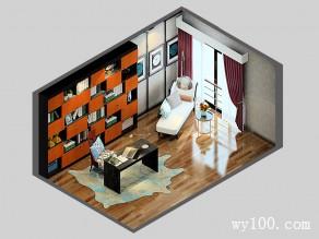 17�O沉稳典雅书房设计效果图_维意定制家具商城