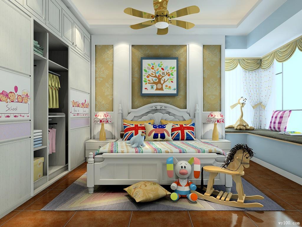 创意儿童房效果图 16㎡女孩房设计简单图片
