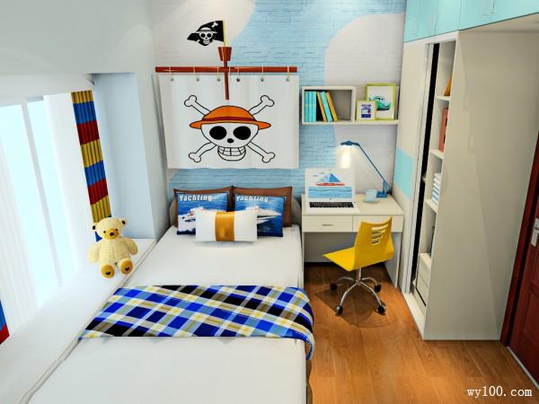 飘窗儿童房效果图 7�O男孩卧房空间_维意定制家具商城